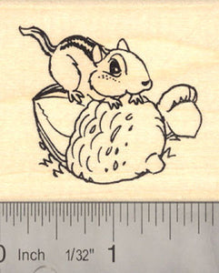 Chipmunk with Giant Acorn Rubber Stamp