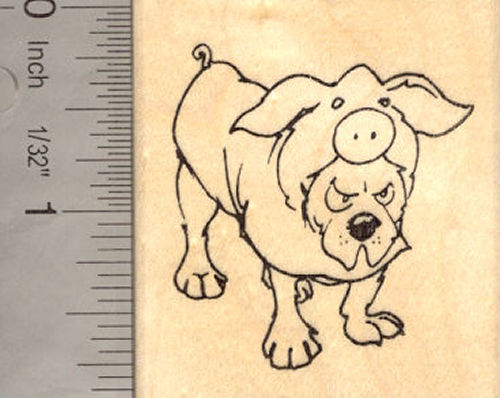 Dog in Pig Costume Halloween Rubber Stamp