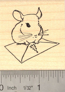 Chinchilla Christmas Card Rubber Stamp