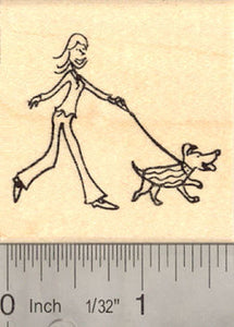 Dog Walker Rubber Stamp