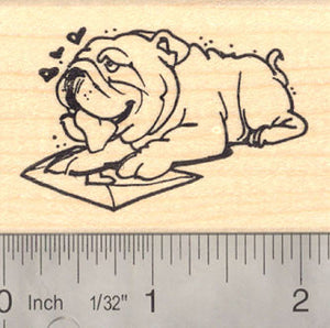 Bulldog Valentine Rubber Stamp