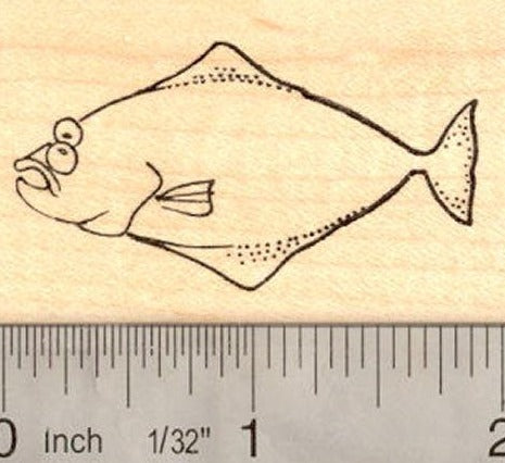 Halibut Flat Fish Rubber Stamp