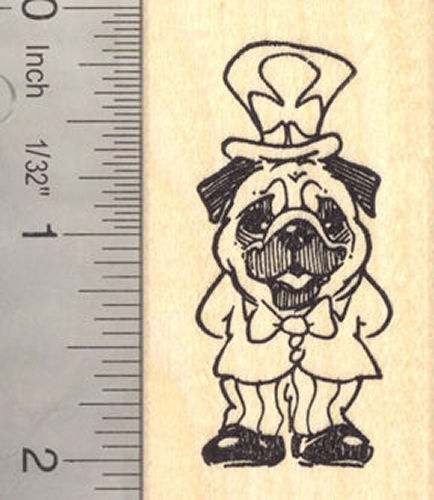 St. Patrick's Day Pug Dog Rubber Stamp