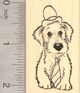 Dog in Hat and Necktie, Father's Day Rubber Stamp