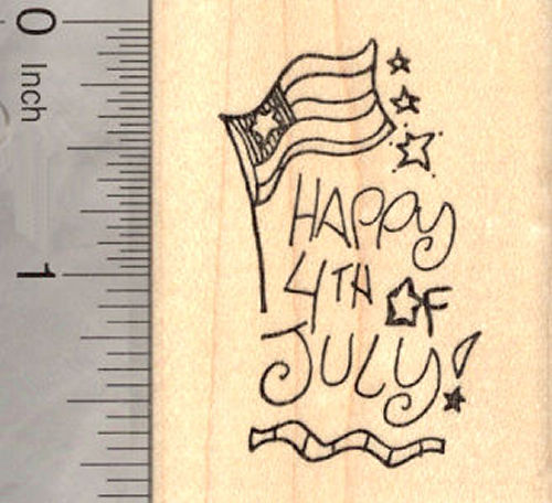 Happy 4th of July Rubber Stamp, American Independence Day (fourth of July, July 4th)