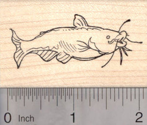Channel Catfish Rubber Stamp, Blue Cat Fish