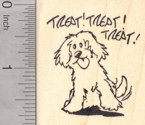 Treat Dog Rubber Stamp, Halloween, Friendship