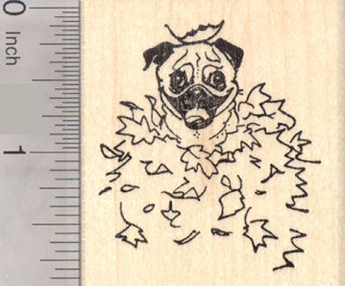 Pug Dog Sitting in Autumn Leaves, Thanksgiving Rubber Stamp