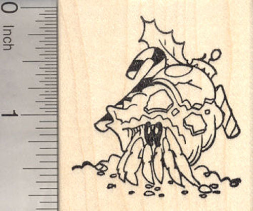 Christmas Hermit Crab Rubber Stamp