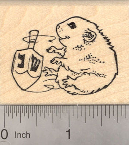 Cute Hanukkah Hamster with Dreidel Rubber Stamp, Chanukah Festival of Lights