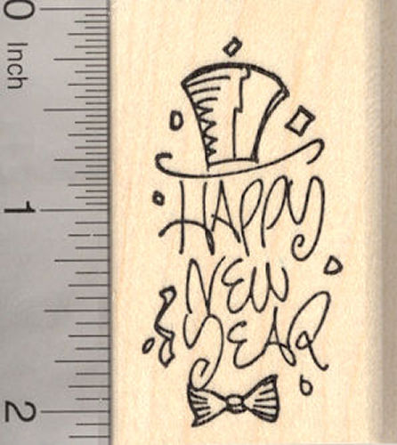 Happy New Year Rubber Stamp