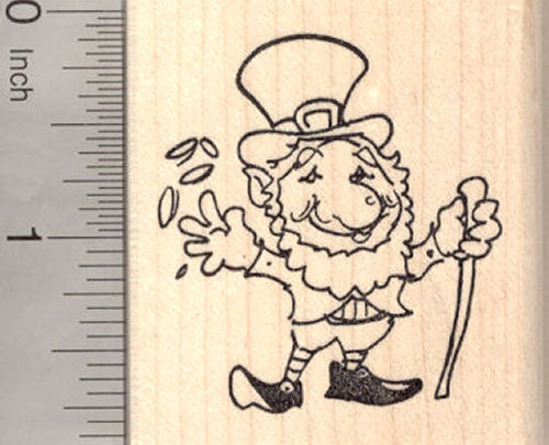 St. Patrick's Day Leprechaun Rubber Stamp, with Gold Coins
