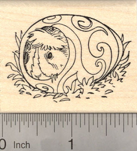 Easter Guinea Pig Rubber Stamp in Decorated Egg