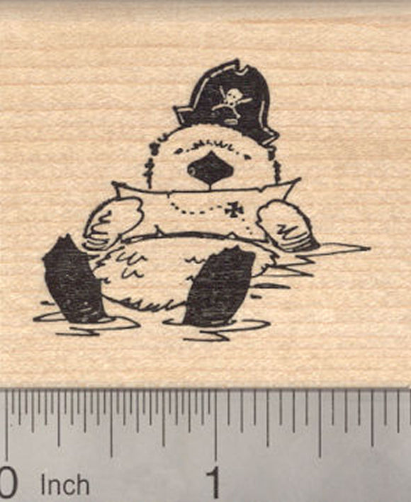 Sea Otter Pirate Rubber Stamp, Reading treasure map