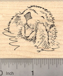 Playful Sea Otter Rubber Stamp, In Water, Talking