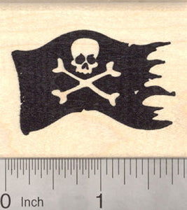 Jolly Roger, Pirate Flag Rubber Stamp, Skull and Cross Bones