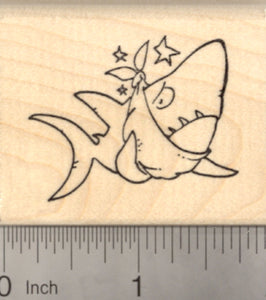 Get Well Shark Rubber Stamp with Toothache and Bandage