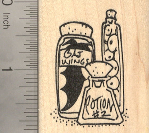 Halloween Witch's Potion Rubber Stamp, with bottled Bat Wings