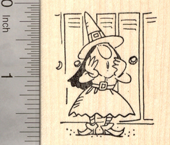 Halloween Teen Witch Rubber Stamp, At School