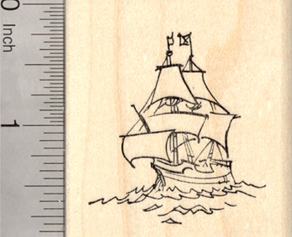 Galleon Rubber Stamp, Sailing Ship, Pirate, Merchant, or War