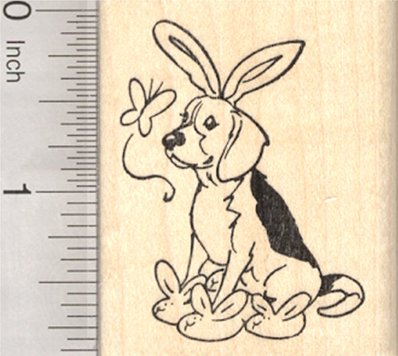 Easter Beagle Rubber Stamp, with Bunny Ears, Slippers, and Butterfly