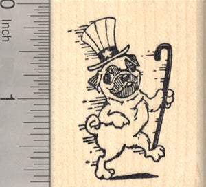 4th of July Pug Rubber Stamp, Dancing with Uncle Sam Hat