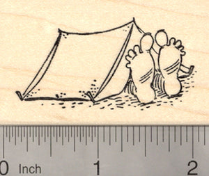 Bigfoot Camping Rubber Stamp, Yeti, Sasquatch in Tent