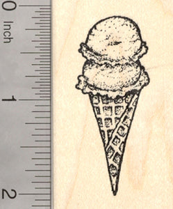 Ice Cream Cone Rubber Stamp, Waffle Style Double Scoop