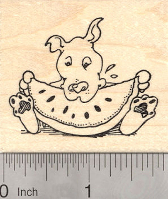 Dog eating Watermelon Rubber Stamp, Summer Cookout Series, American Pitbull, Staffordshire Terrier