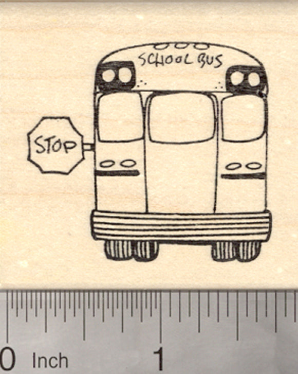 School Bus Rubber Stamp