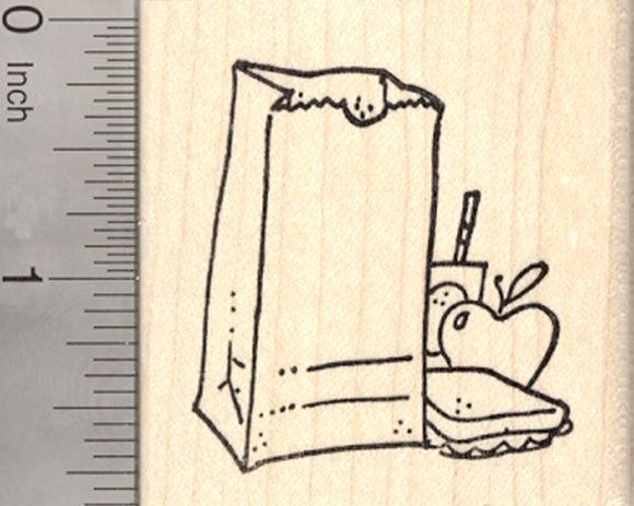 School Lunch Rubber Stamp, Sack with Apple, Sandwich and Juice Box