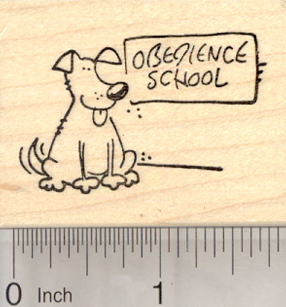 Obedience School Dog Rubber Stamp
