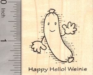 Halloween Rubber Stamp, Happy Hello Weinie, Wiener, Hot Dog