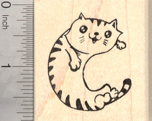Alphabet Cat Rubber Stamp, Shaped like a letter C