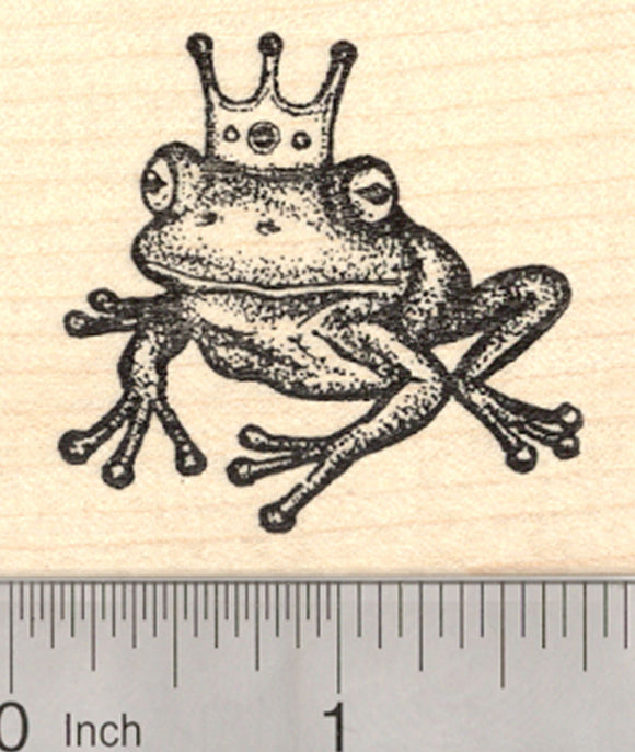 Frog Prince Rubber Stamp, with Crown, Fairy Tale, European Folklore, Fantasy
