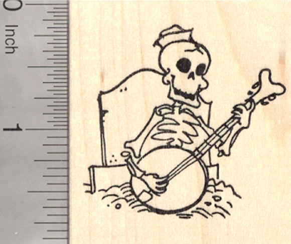 Skeleton Rubber Stamp, Playing Banjo from his Grave, Day of the Dead, Halloween, Día de Muertos