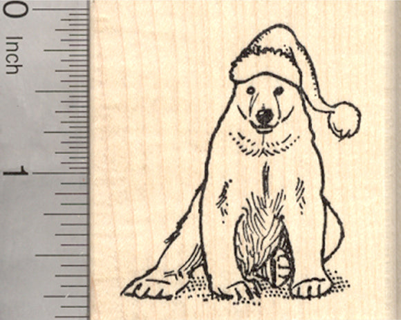 Christmas Polar Bear Rubber Stamp, in Santa Hat