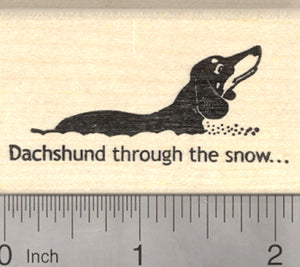 Dachshund in Snow Rubber Stamp, Winter Holiday, Christmas