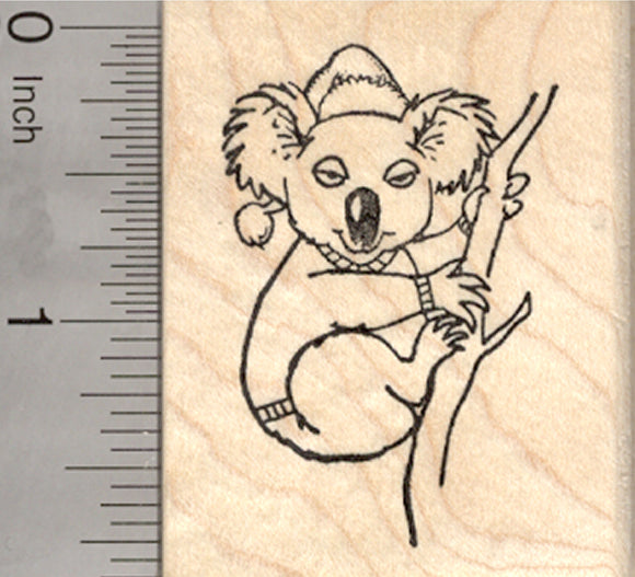 Christmas Koala Rubber Stamp, Australian Bear in Santa Hat