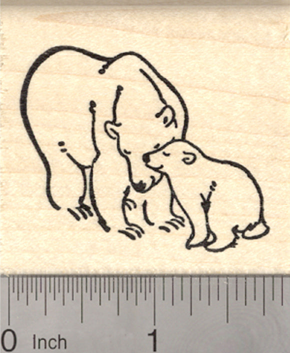 Polar Bear Rubber Stamp, Mother and Baby, Valentine, Mother's Day