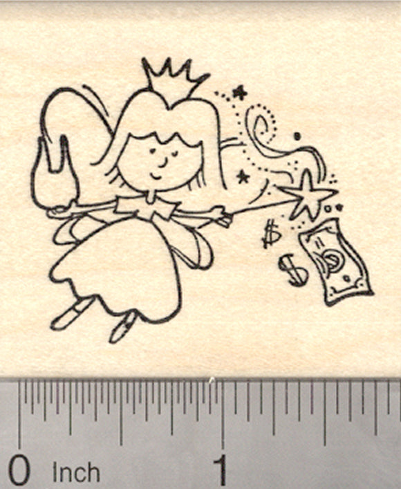 Tooth Fairy Rubber Stamp, with Tooth, Wand, Crown, and Cash