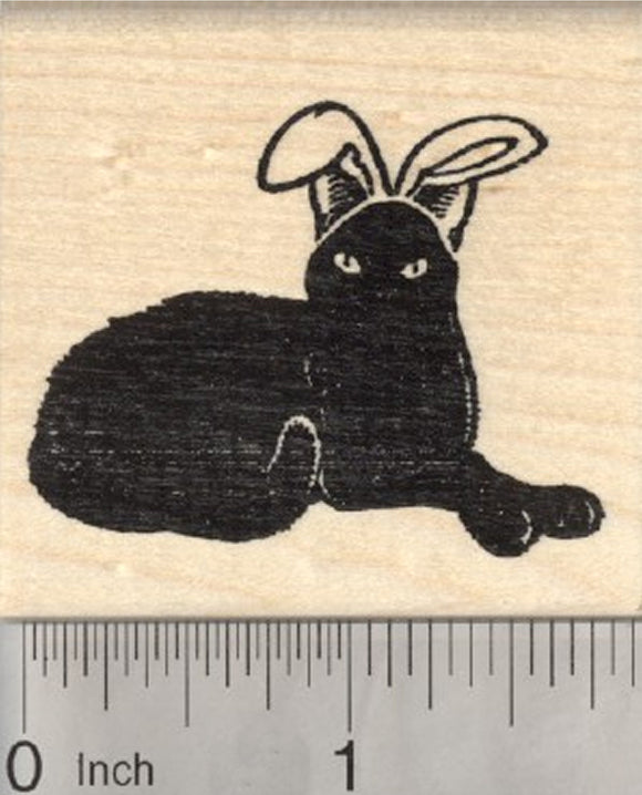 Easter Black Cat Rubber Stamp, in Bunny Ears