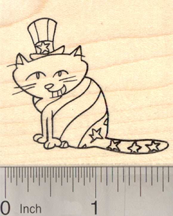 4th of July Cat Rubber Stamp, Patriotic