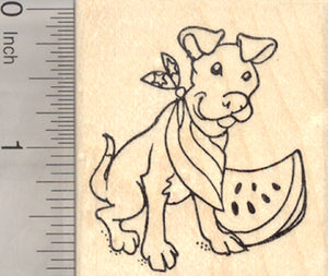 4th of July Pitbull Terrier Rubber Stamp, Staffordshire Dog