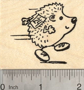 Running Hedgehog Rubber Stamp, Wearing Race Bib
