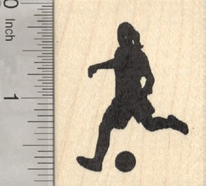 Girl Soccer Player Rubber Stamp, Association Football