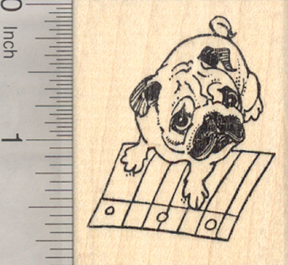 Pug Rubber Stamp, Back to School, Dog with Notebook Paper