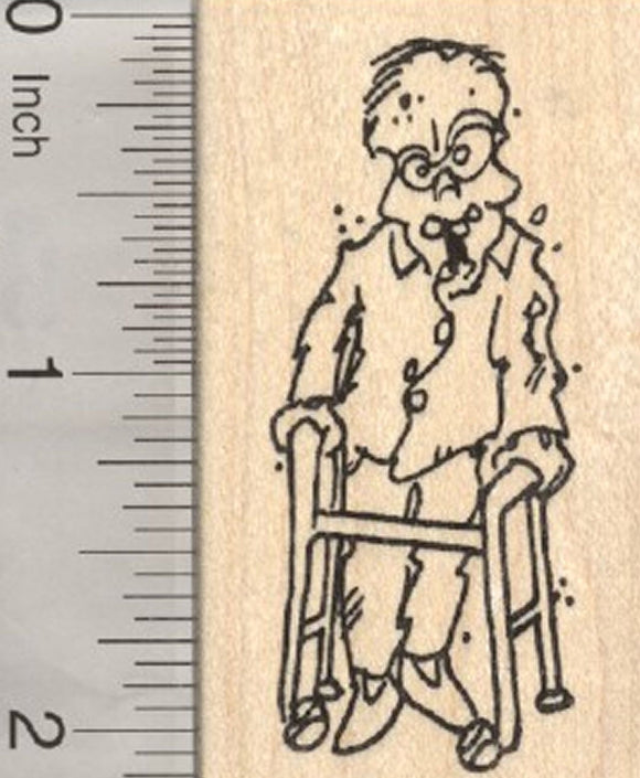 Halloween Zombie Rubber Stamp, Walker
