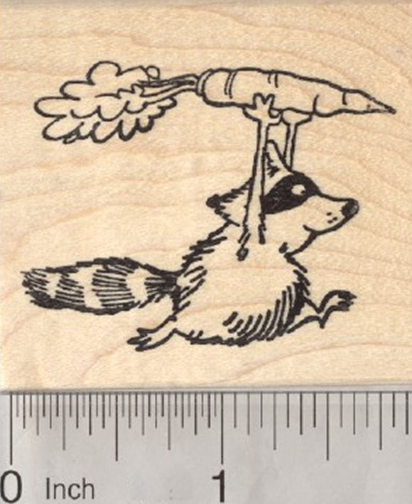 Garden Bandit Rubber Stamp, Raccoon Stealing Carrot