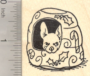 Christmas French Bulldog Rubber Stamp, Frenchie